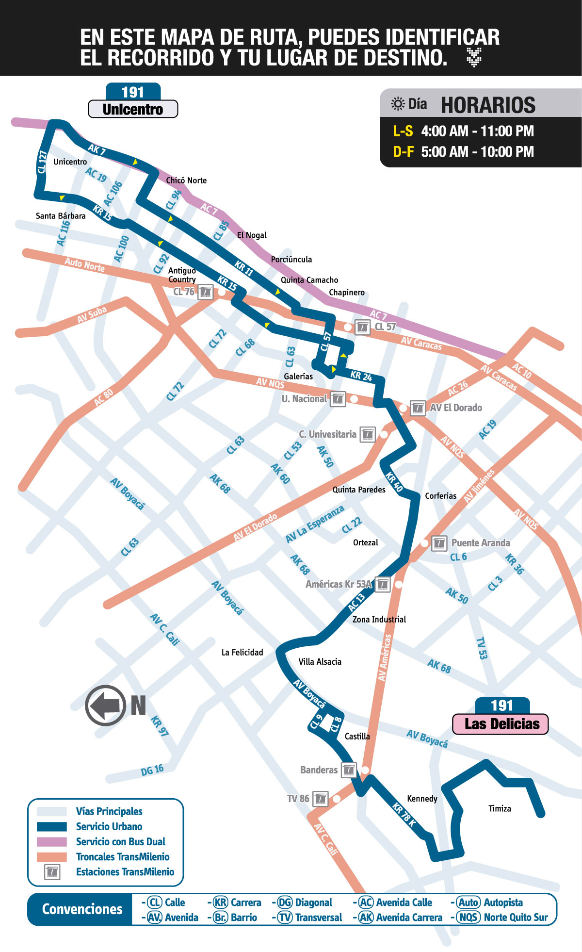 Mapa ruta urbana 191 Unicentro - Las Delicias
