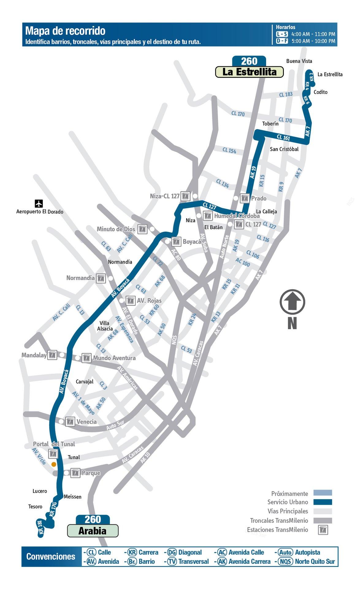 Ruta SITP: 260 La Estrellita ↔ Arabia [Urbana] 5
