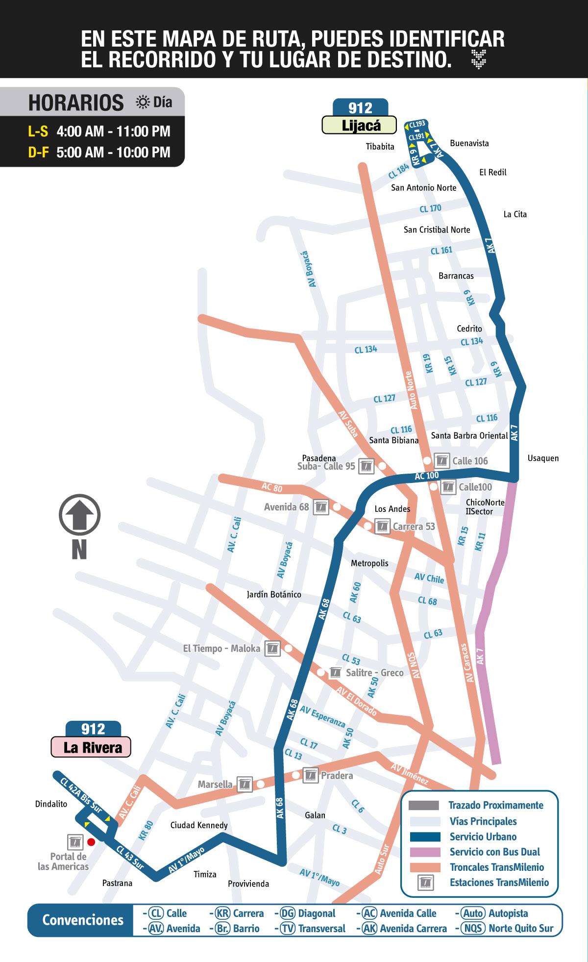 Mapa ruta urbana 912 Lijacá - La Rivera