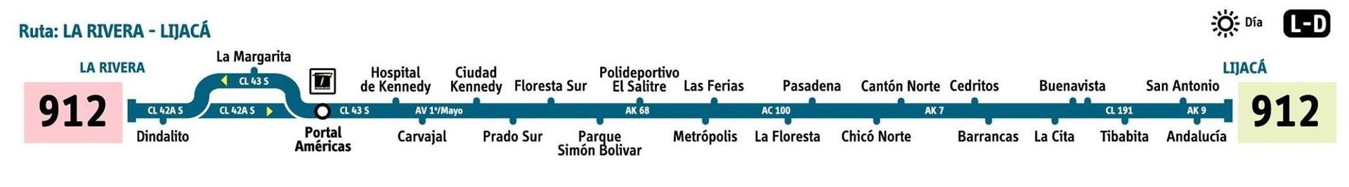 Ruta SITP: 912 Lijacá ↔ La Rivera [Urbana] 2