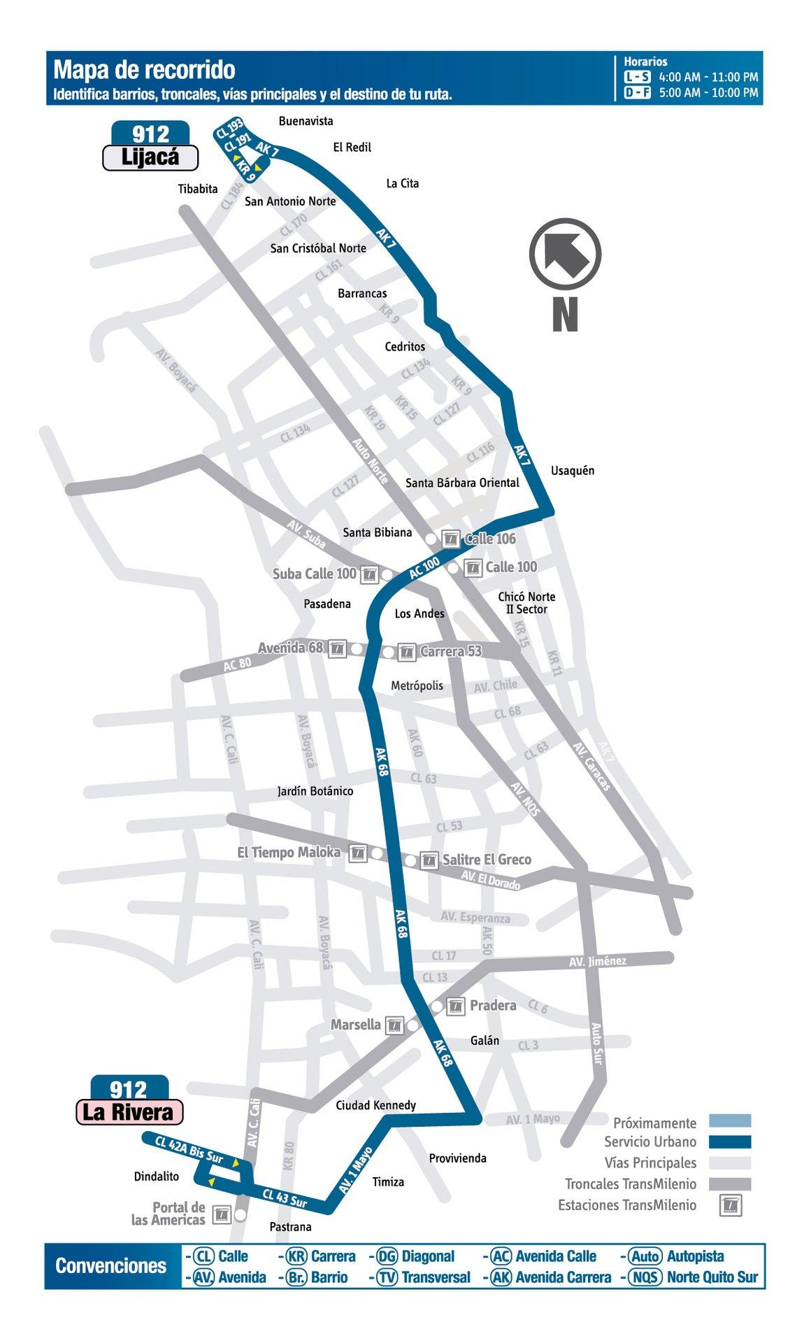 Ruta SITP: 912 Lijacá ↔ La Rivera [Urbana] 3