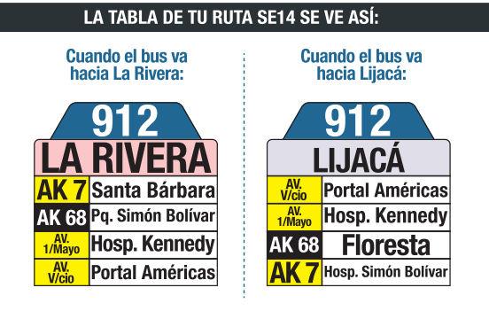 Ruta SITP: 912 Lijacá ↔ La Rivera [Urbana] 4