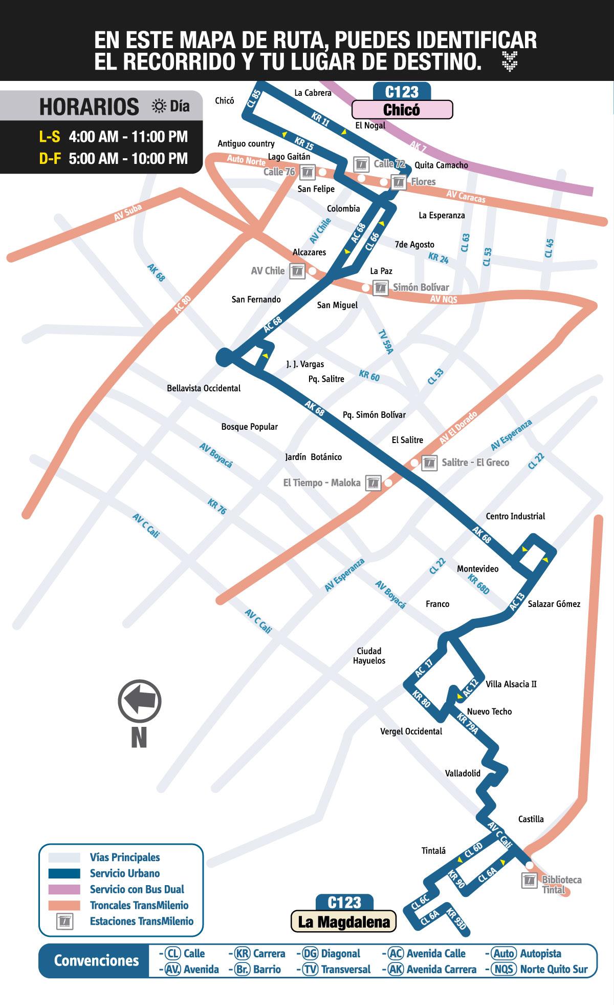 Mapa ruta urbana Ruta C123 Chicó - La Magdalena