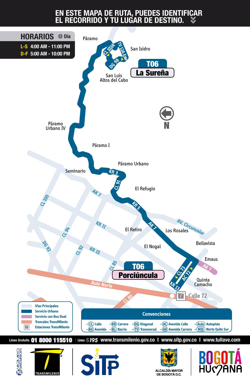 Mapa ruta urbana T06