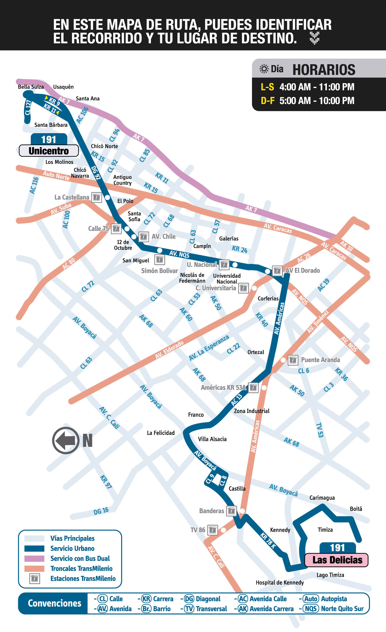 Mapa ruta urbana 191 - SITP