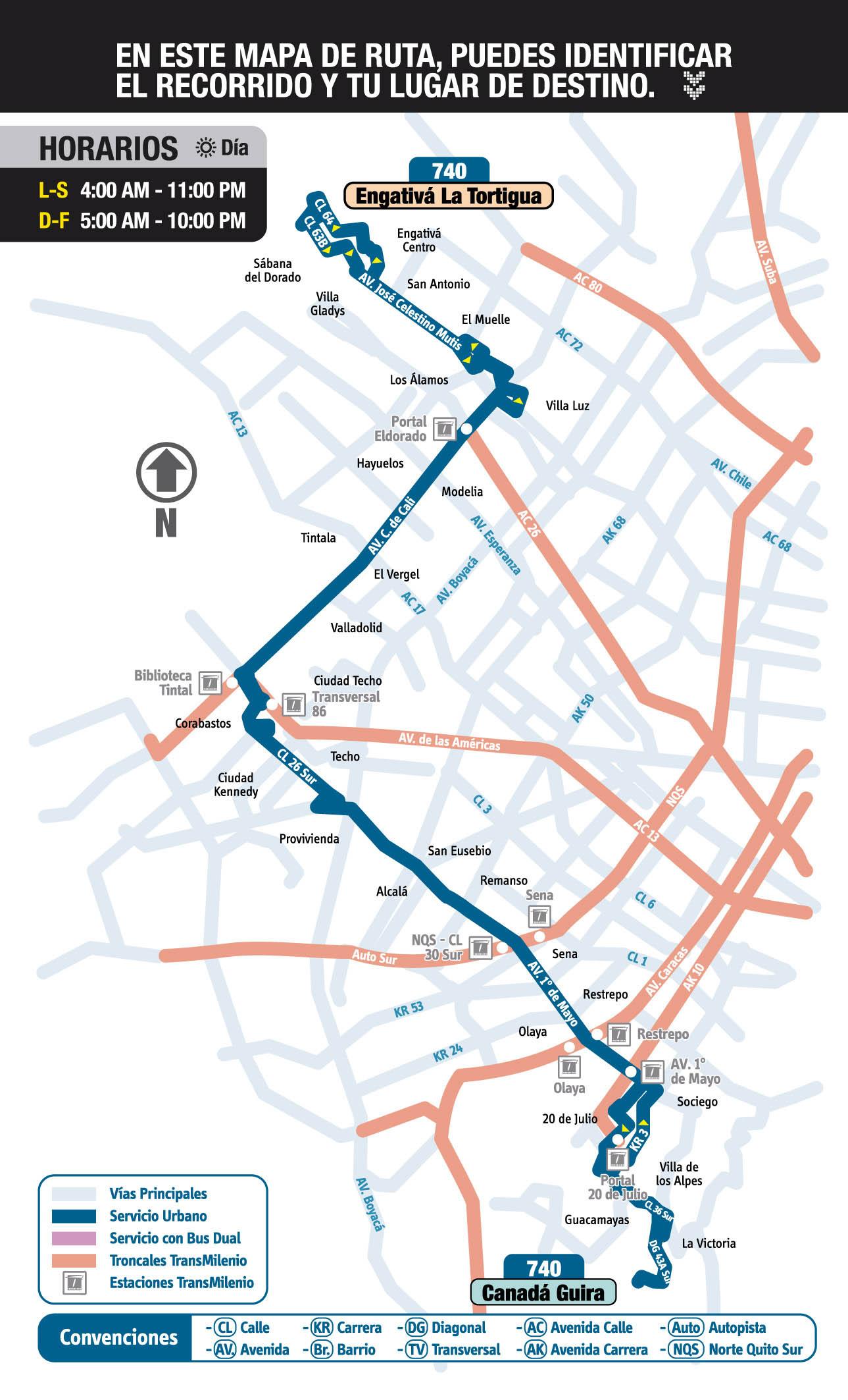 Mapa ruta urbana 740