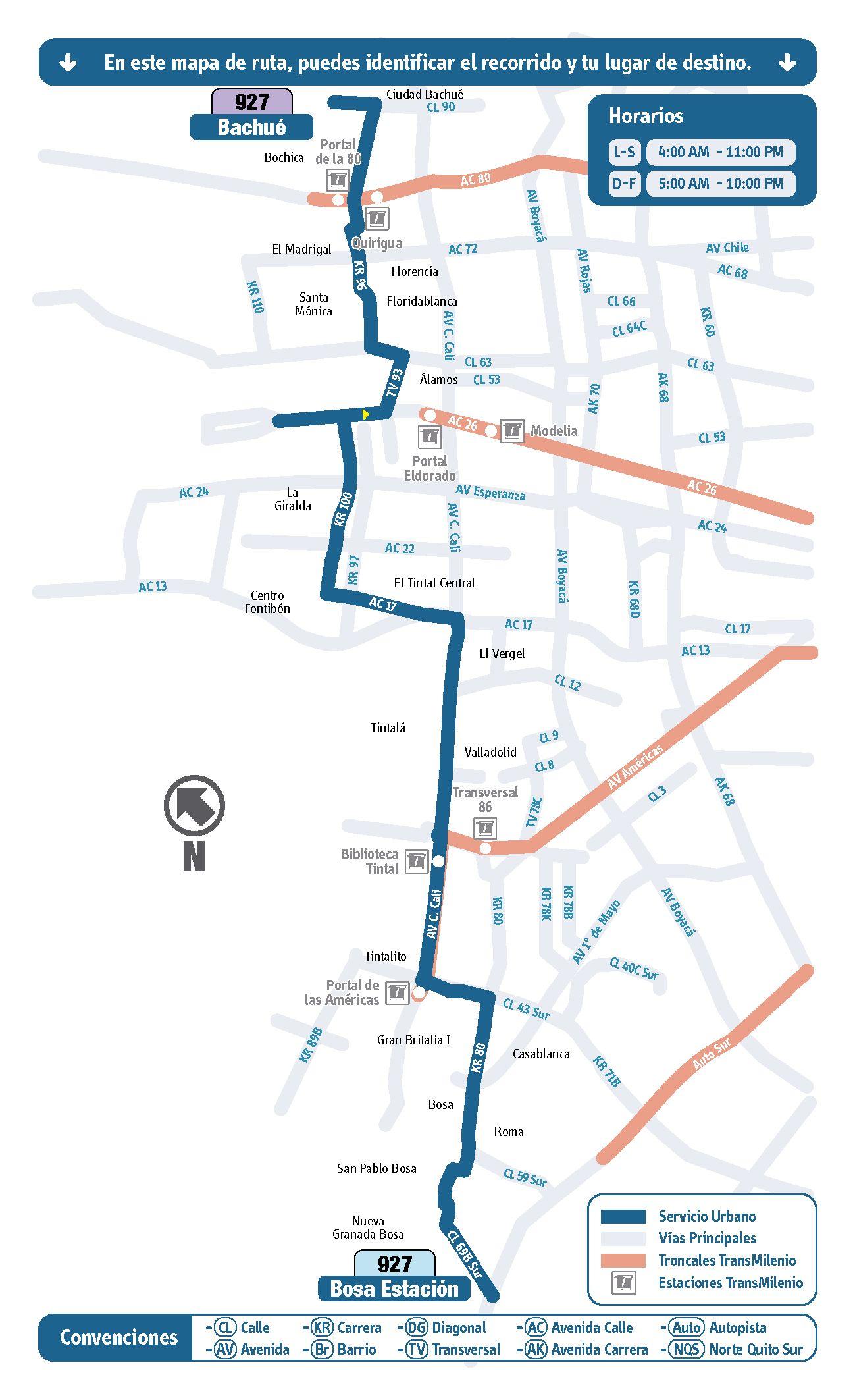 Mapa ruta urbana 927