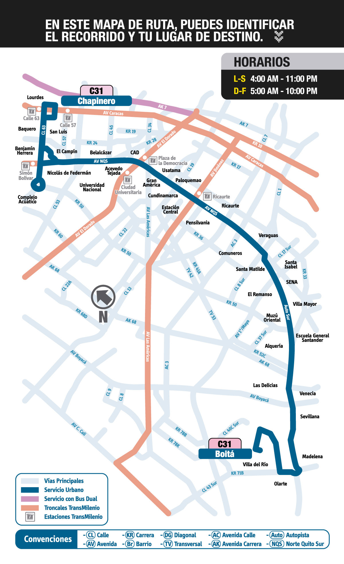Mapa ruta urbana C31