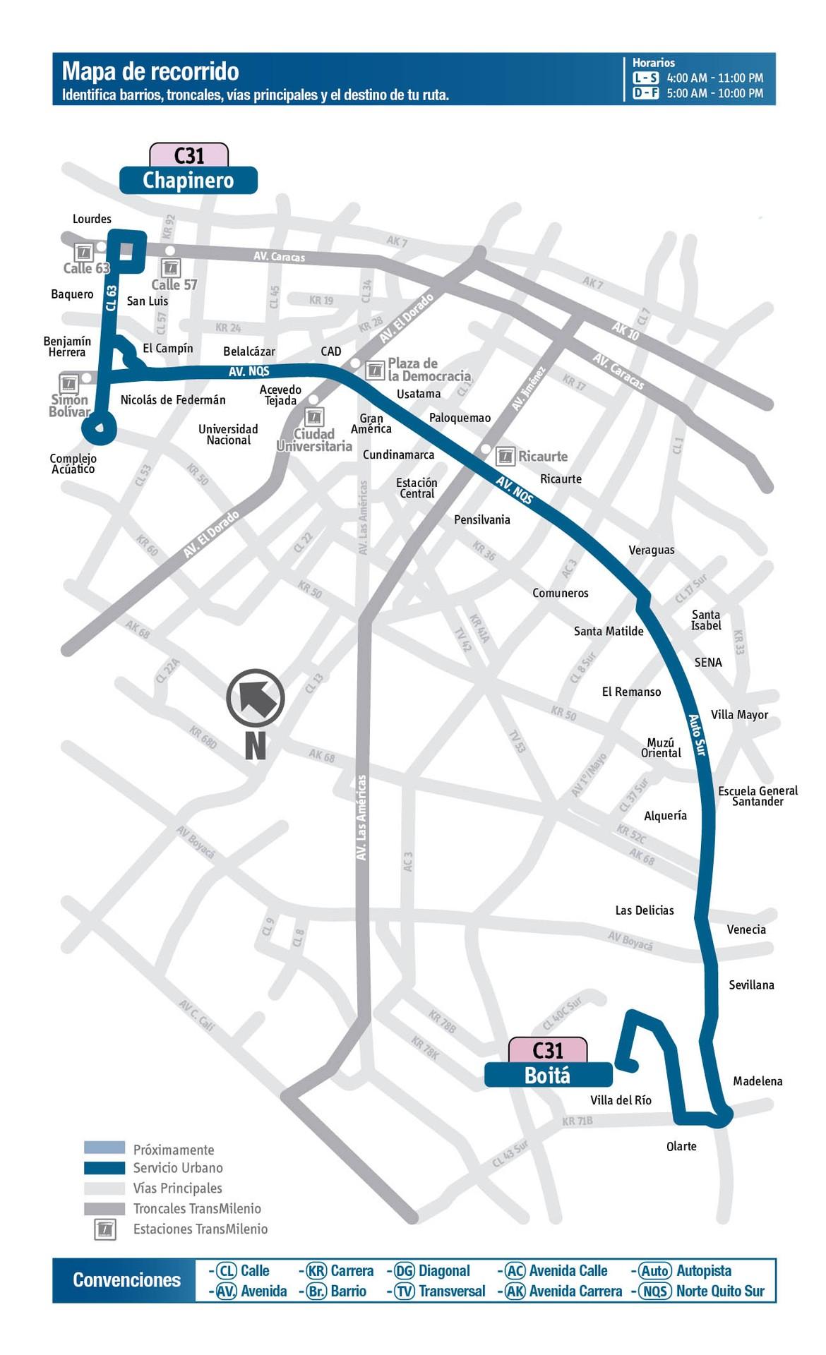 Ruta SITP: C31 Chapinero ↔ Boitá [Urbana] 2