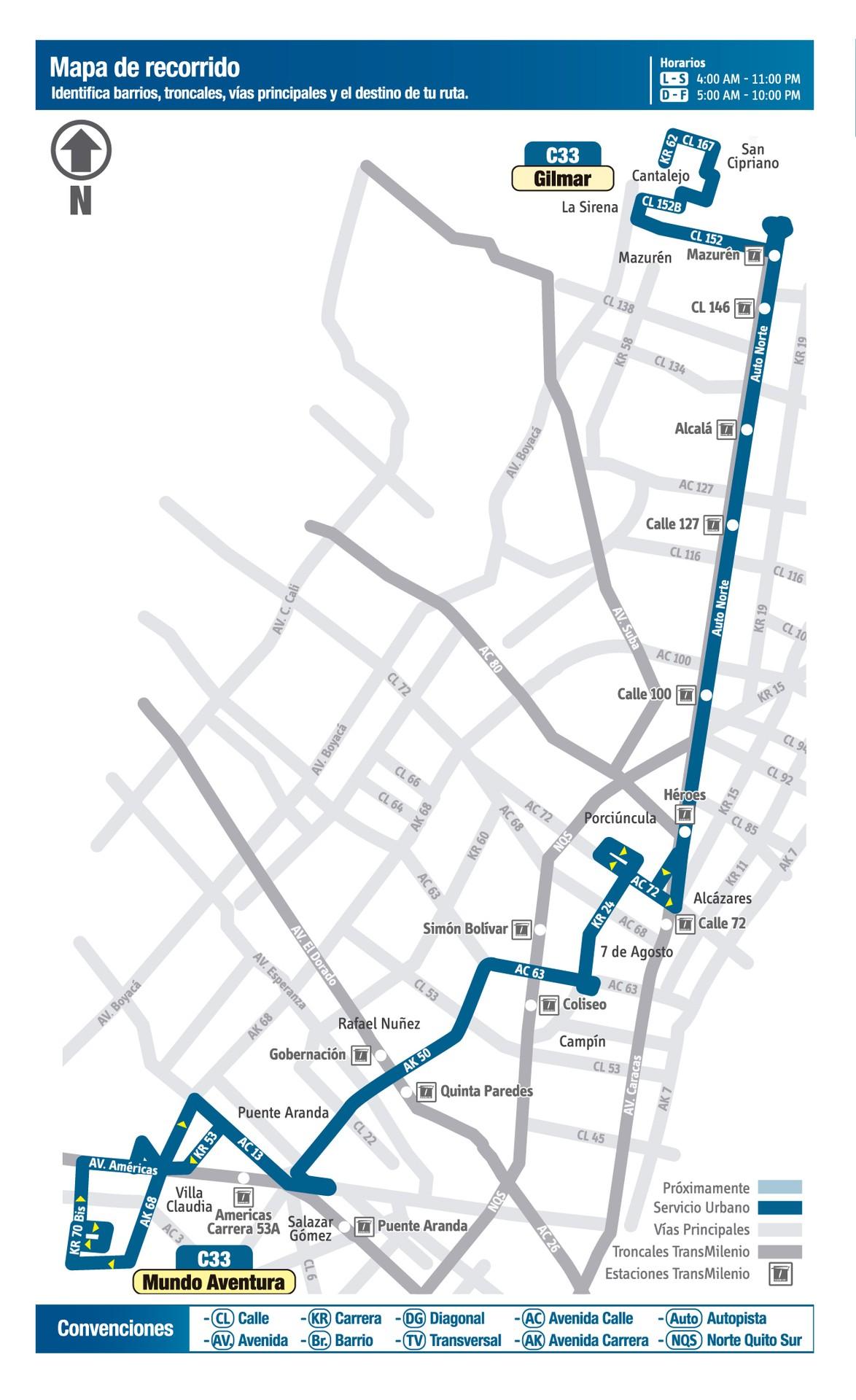 Ruta SITP: C33 Mundo Aventura - Gilmar 1