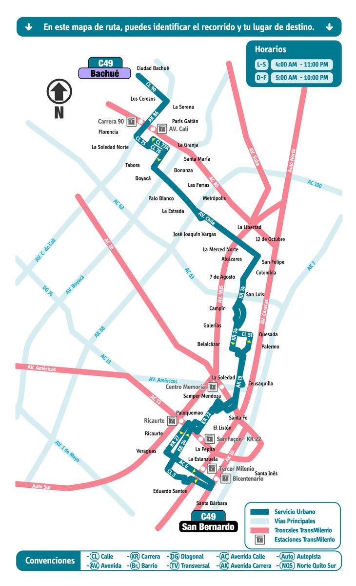 Mapa ruta urbana C49 - SITP