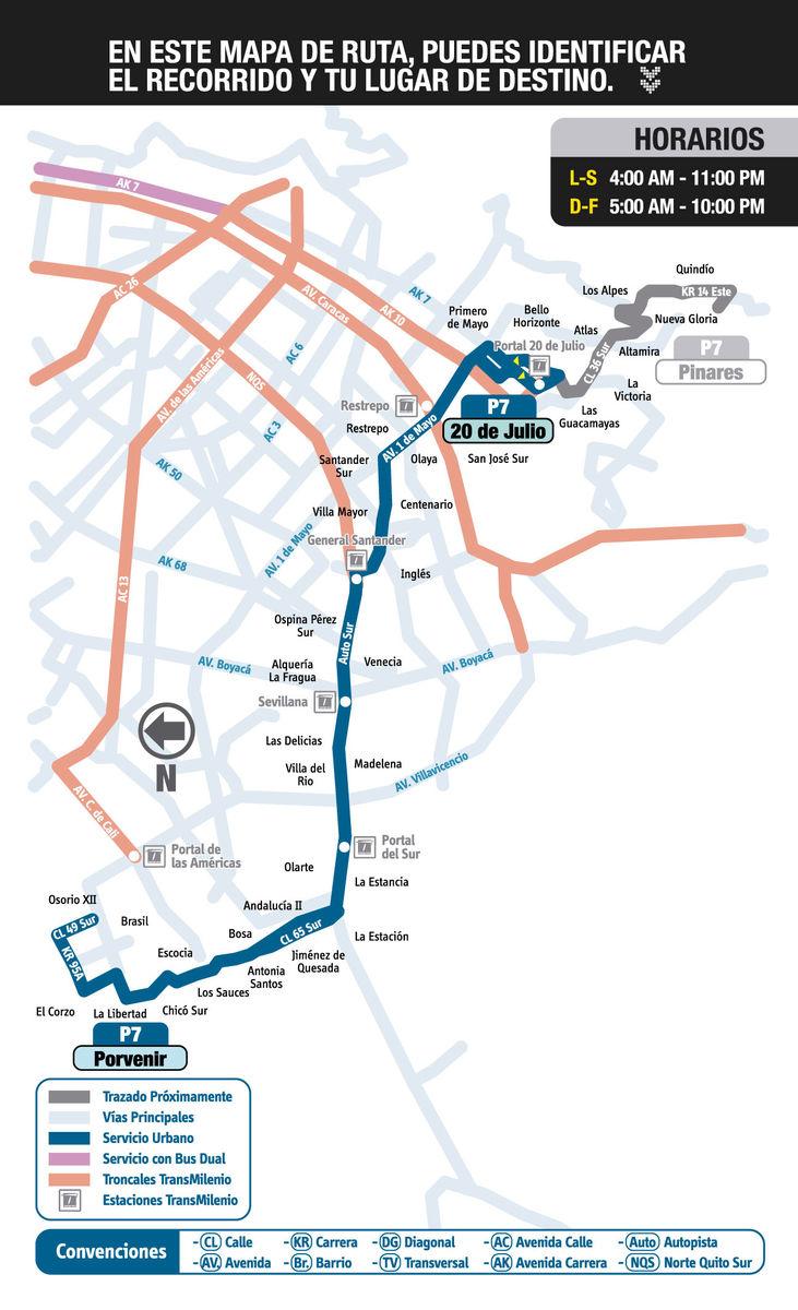 Mapa ruta urbana P7 - SITP