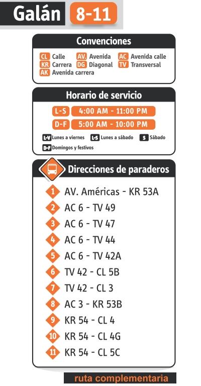 Paraderos ruta urbana 8-11