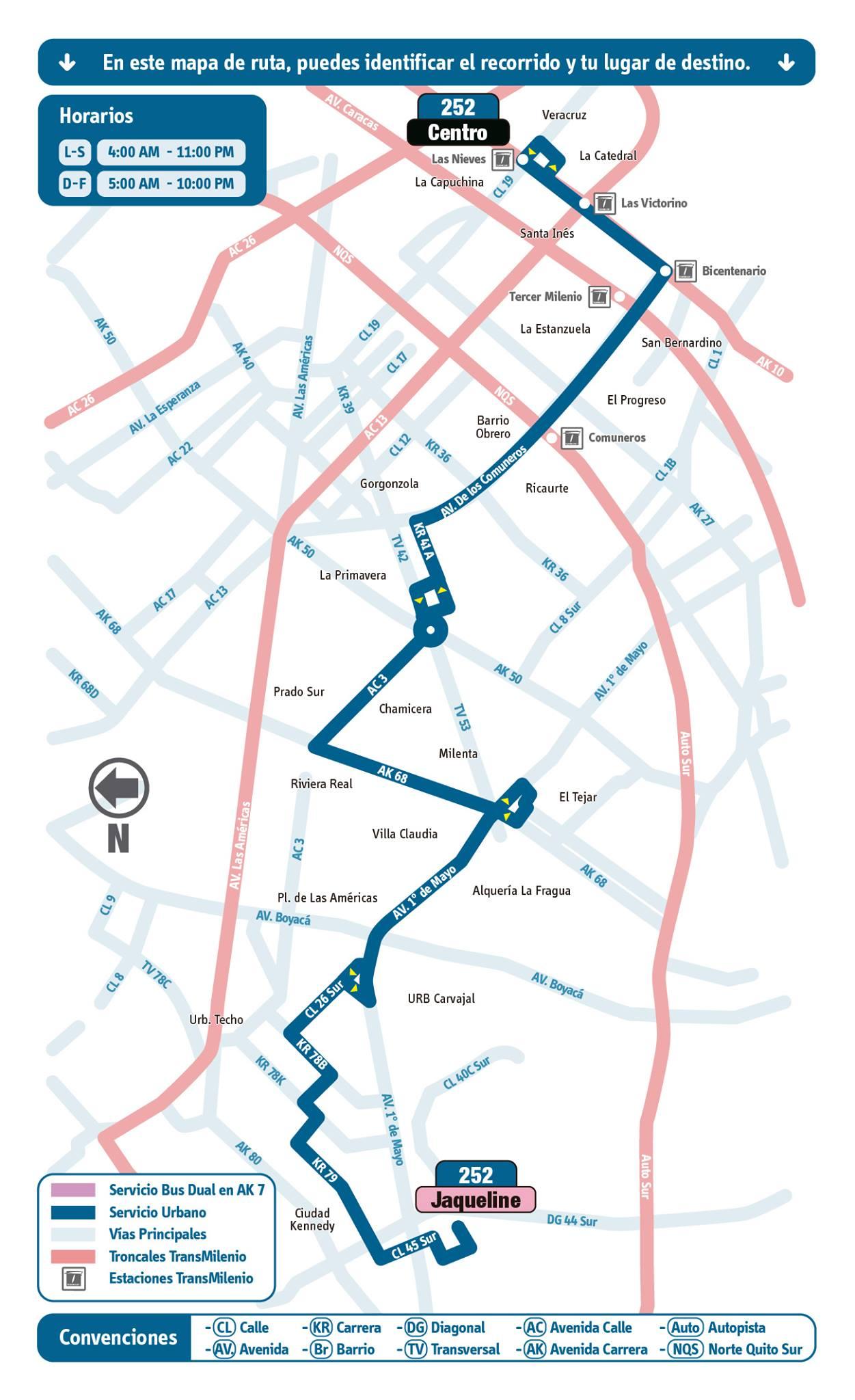 Mapa ruta urbana 252 extendida en noviembre 2014