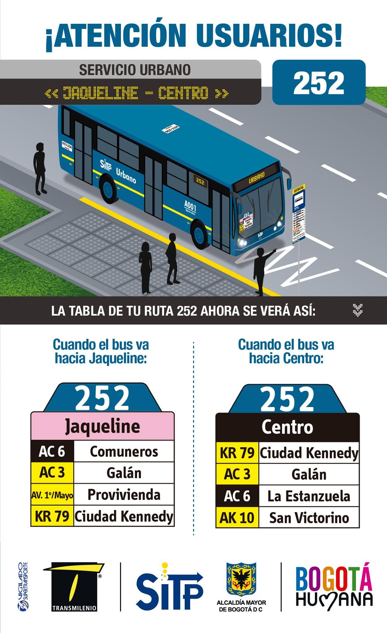 Volante ruta urbana 252 extendida en noviembre 2014