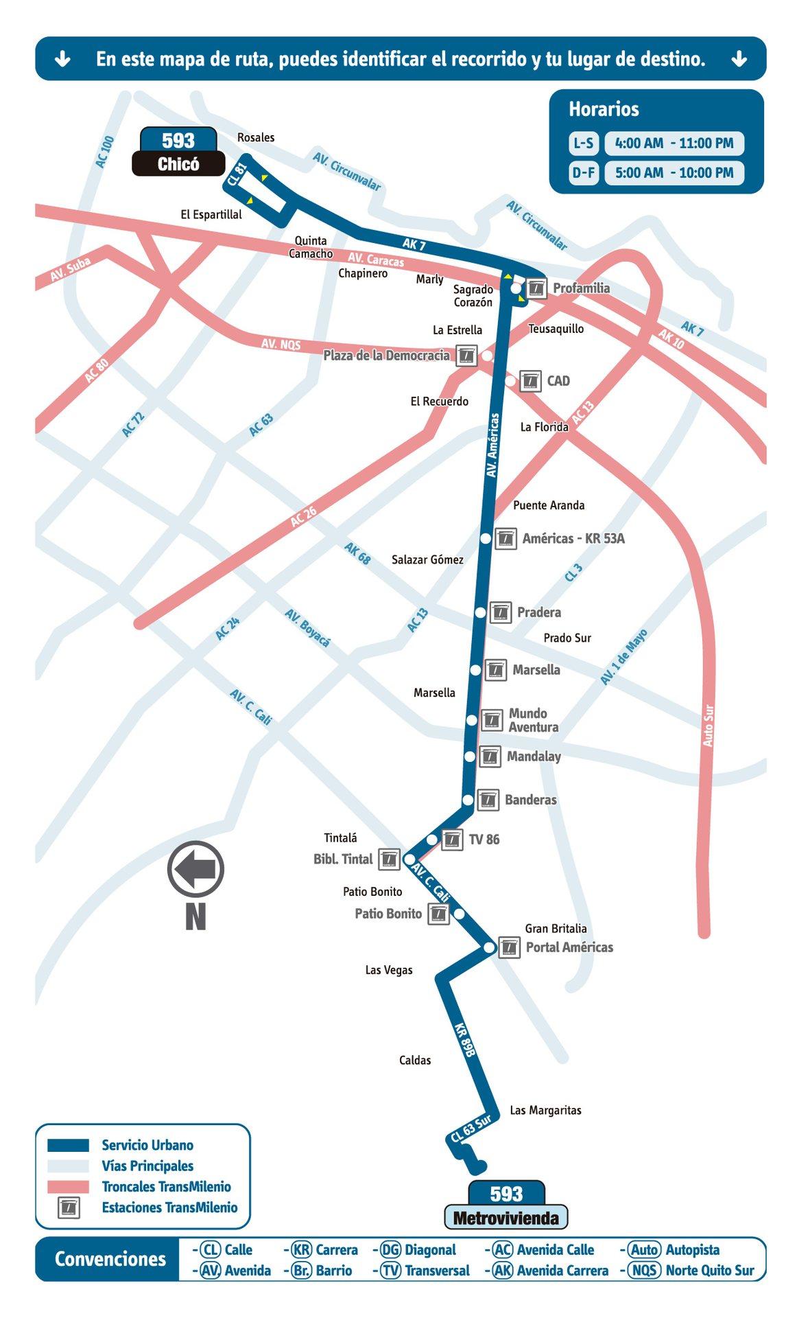 Ruta SITP: 593 Metrovivienda ↔ Chicó [Urbana] 3