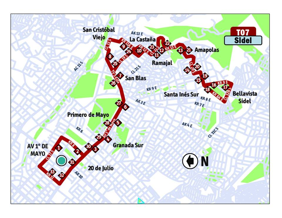 Mapa ruta especial T07 Sidel del SITP