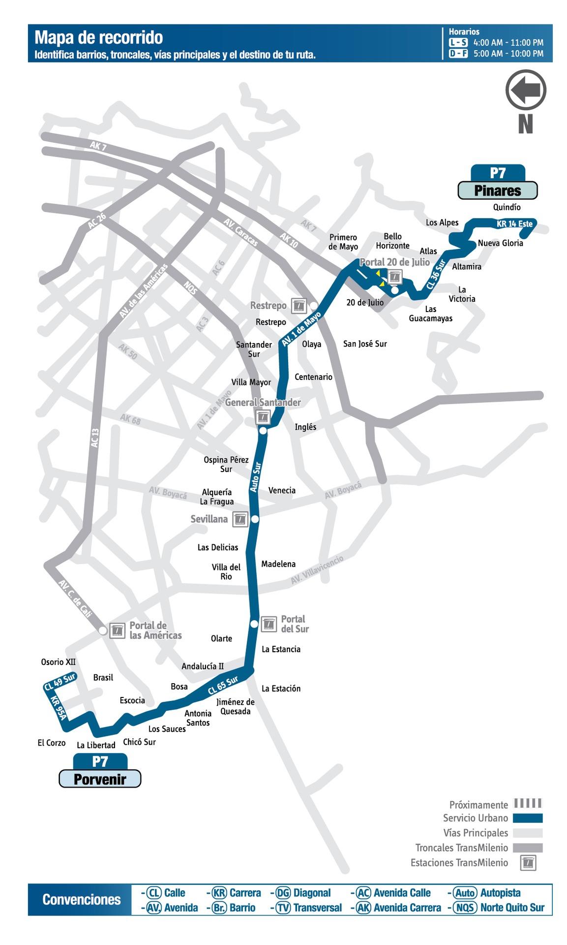 Ruta SITP: P7 Porvenir ↔ Pinares [Urbana] 1