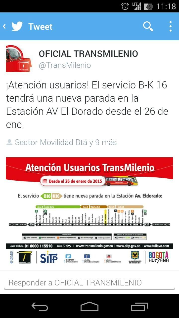 Ojo usuarios TM - nueva parada del servicio B16-K16 1