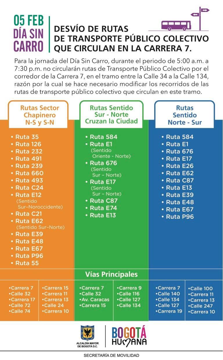 5 de febrero día sin Carro en Bogotá ¿ya sabes qué ruta SITP abordar? 3