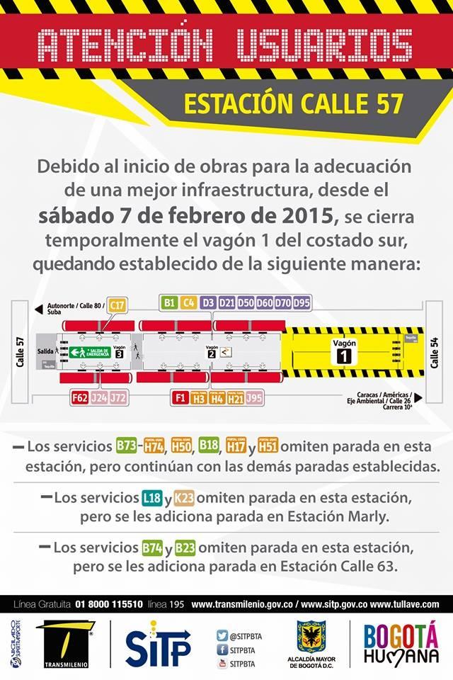 Usuarios TM: aviso cierre eventual estación calle 57