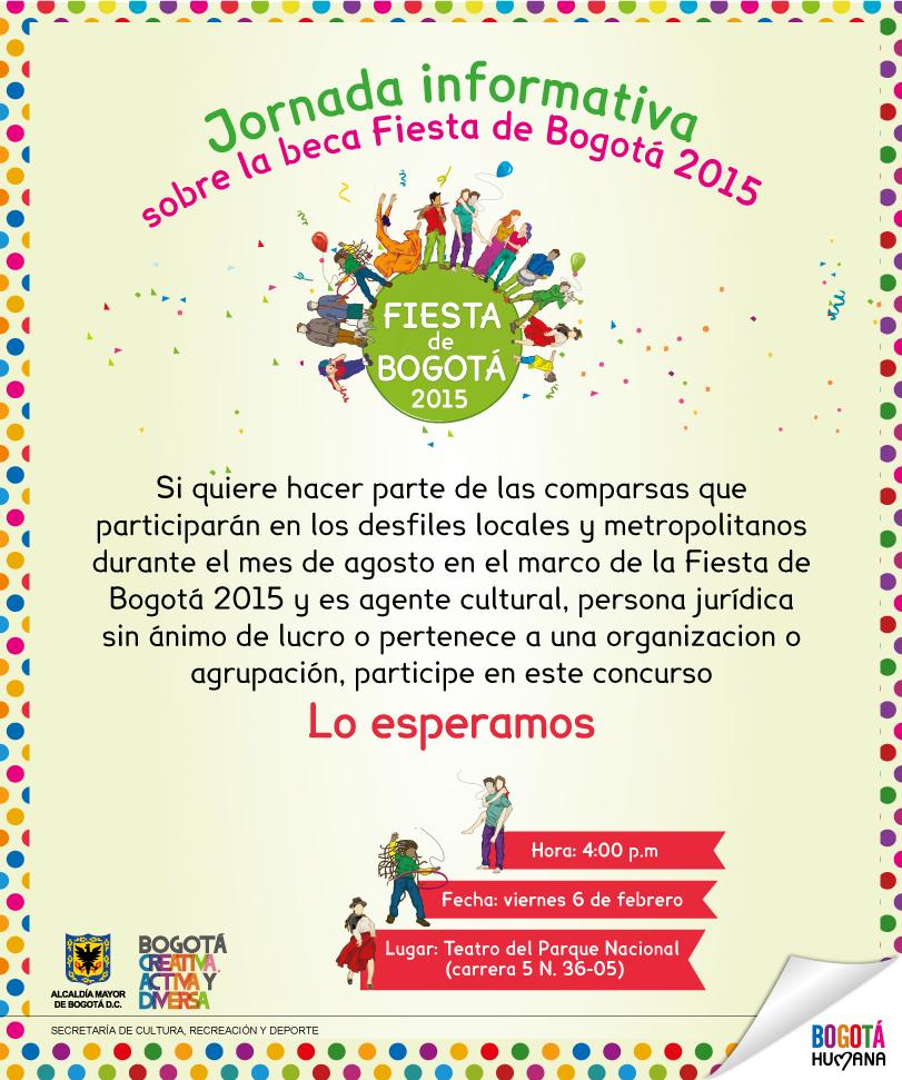 Beca fiesta Bogotá 2015 - para personas y grupos interesados