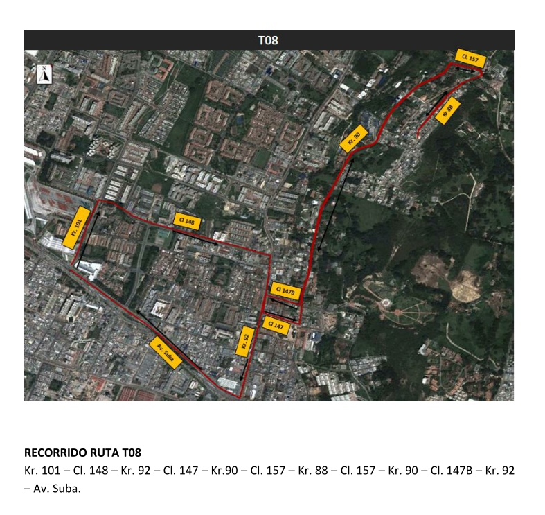 Cambio recorrido ruta T08 - ahora hasta el Portal Suba 4