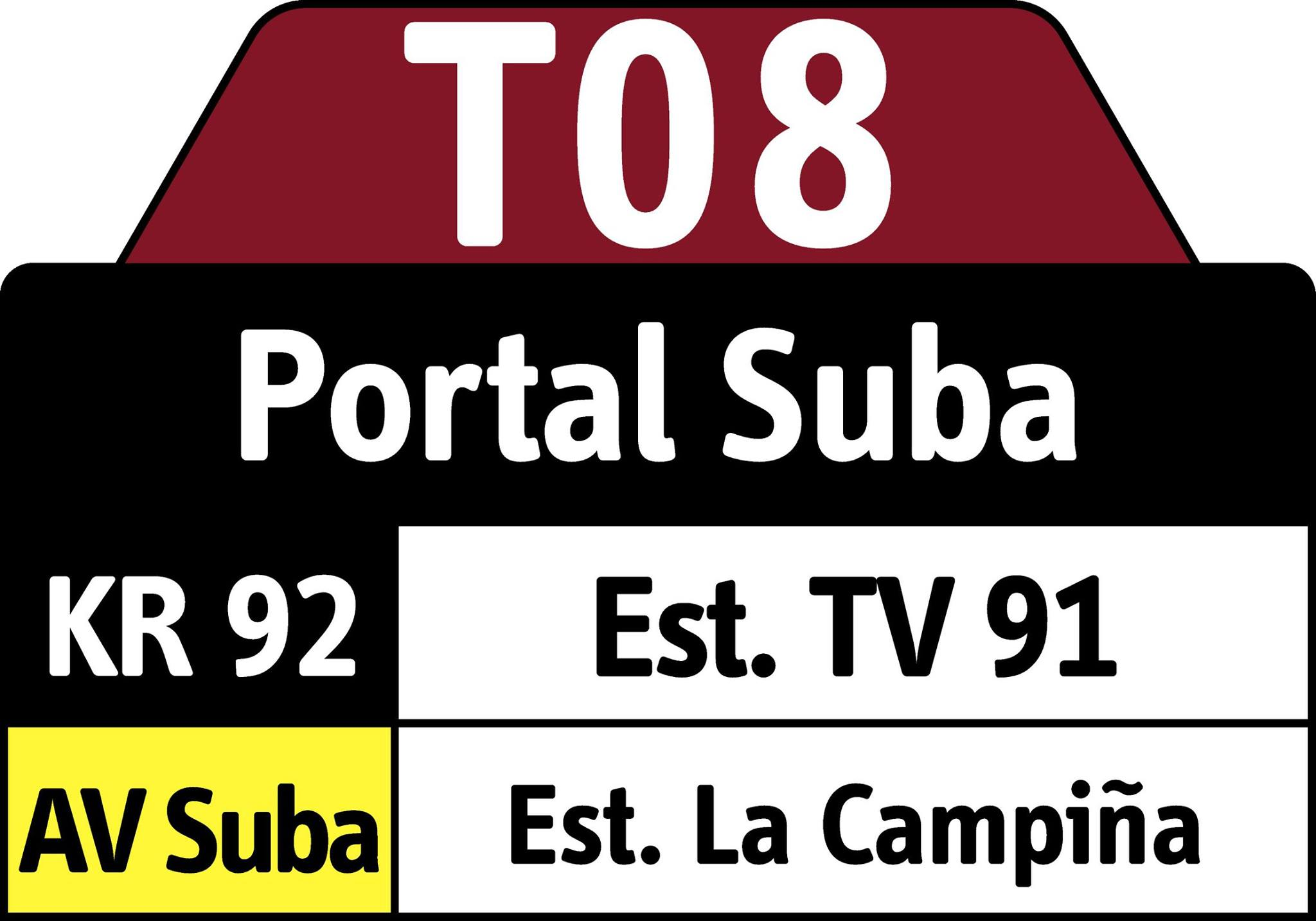 Cambio recorrido ruta T08 - ahora hasta el Portal Suba