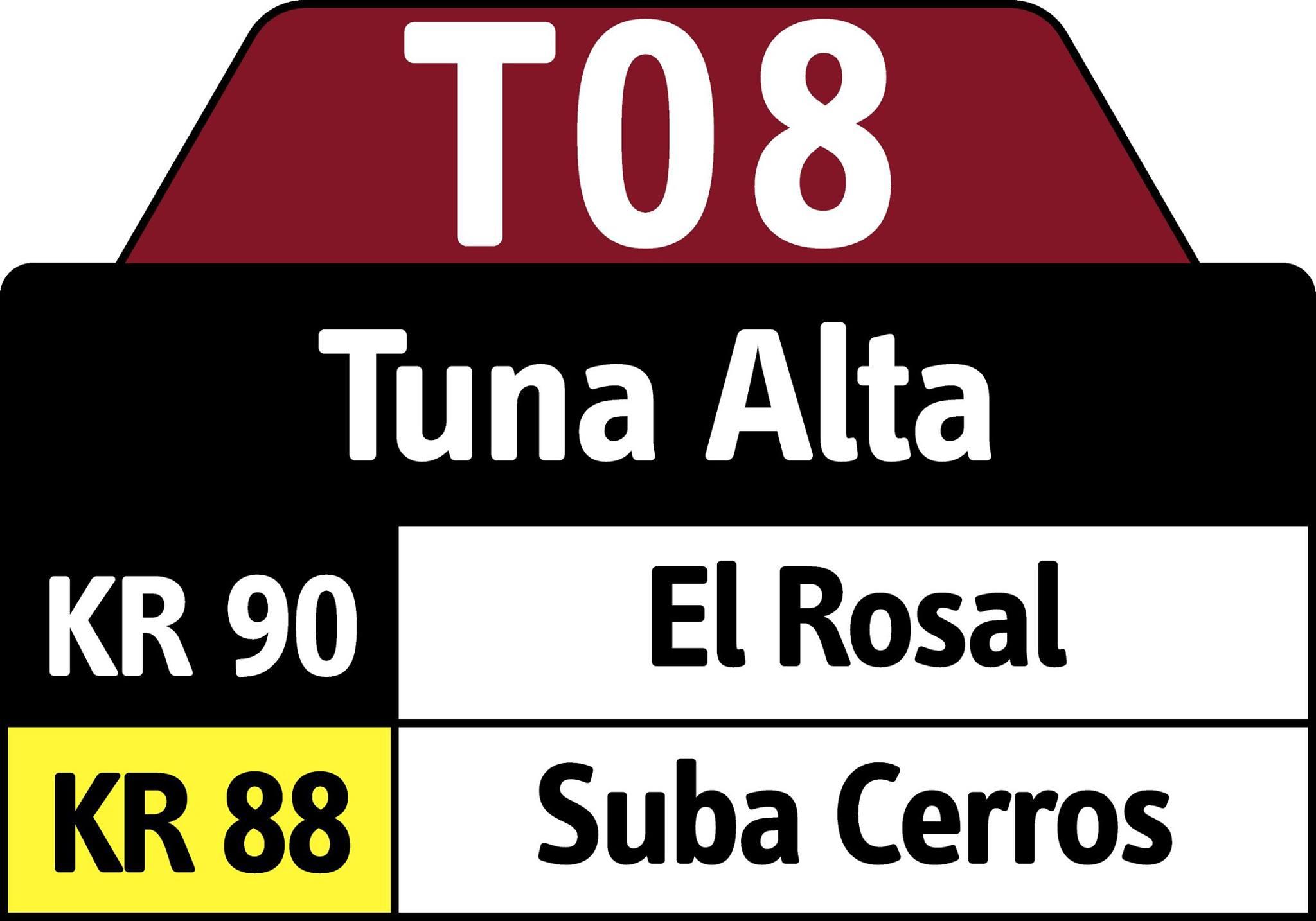 Cambio recorrido ruta T08 - ahora hasta el Portal Suba 1
