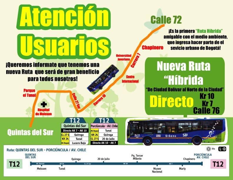 Nueva ruta T12 - Quintas del Sur / Porciúncula (Av. Chile) 2