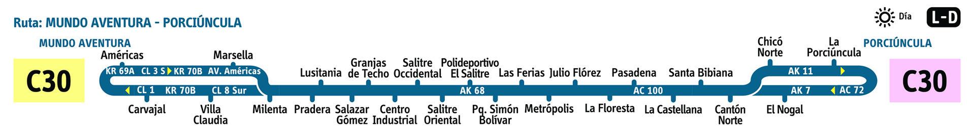 Ruta SITP: C30 Chicó ↔ Mundo Aventura [Urbana]