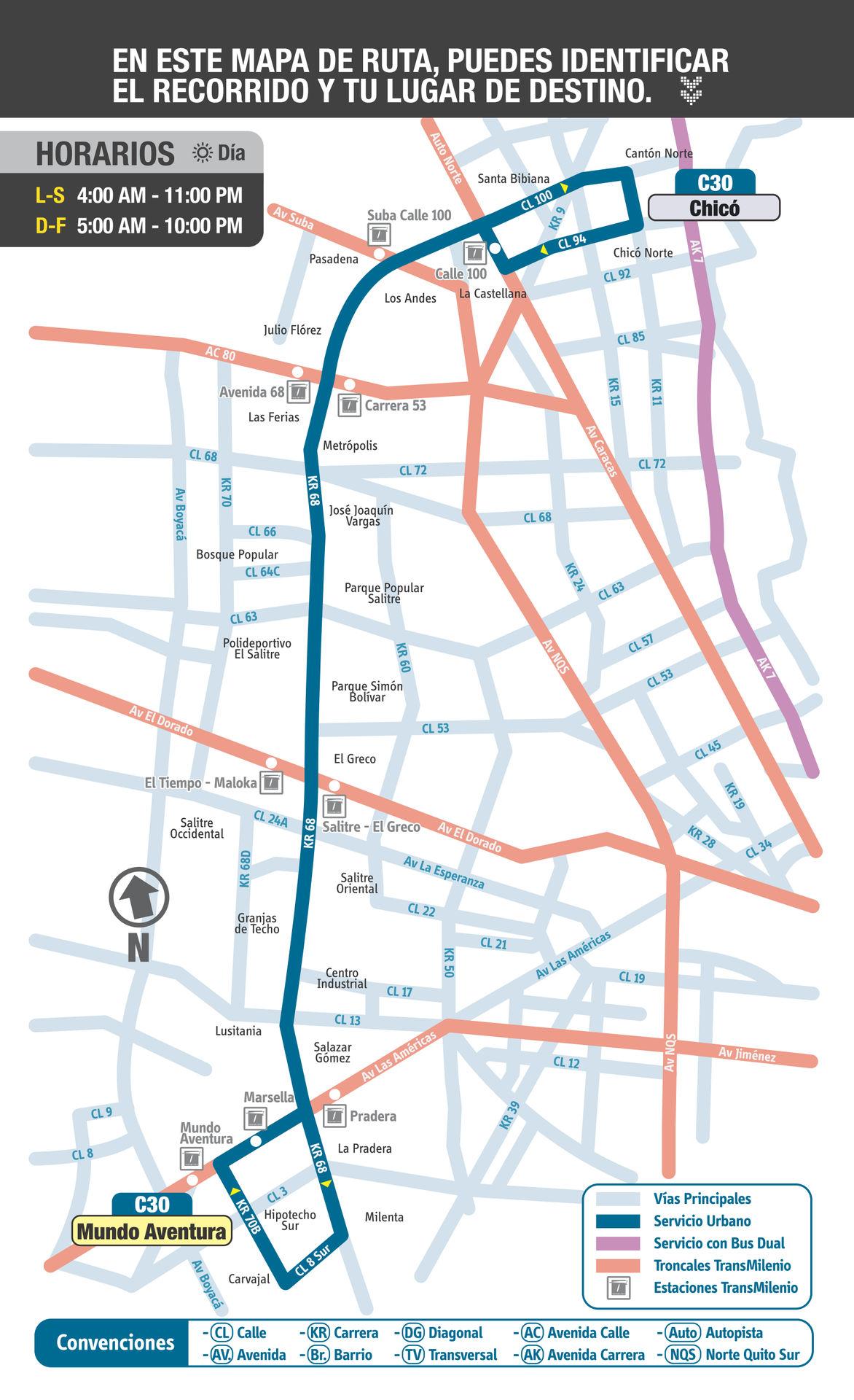 Ruta SITP: C30 Chicó ↔ Mundo Aventura [Urbana] 1