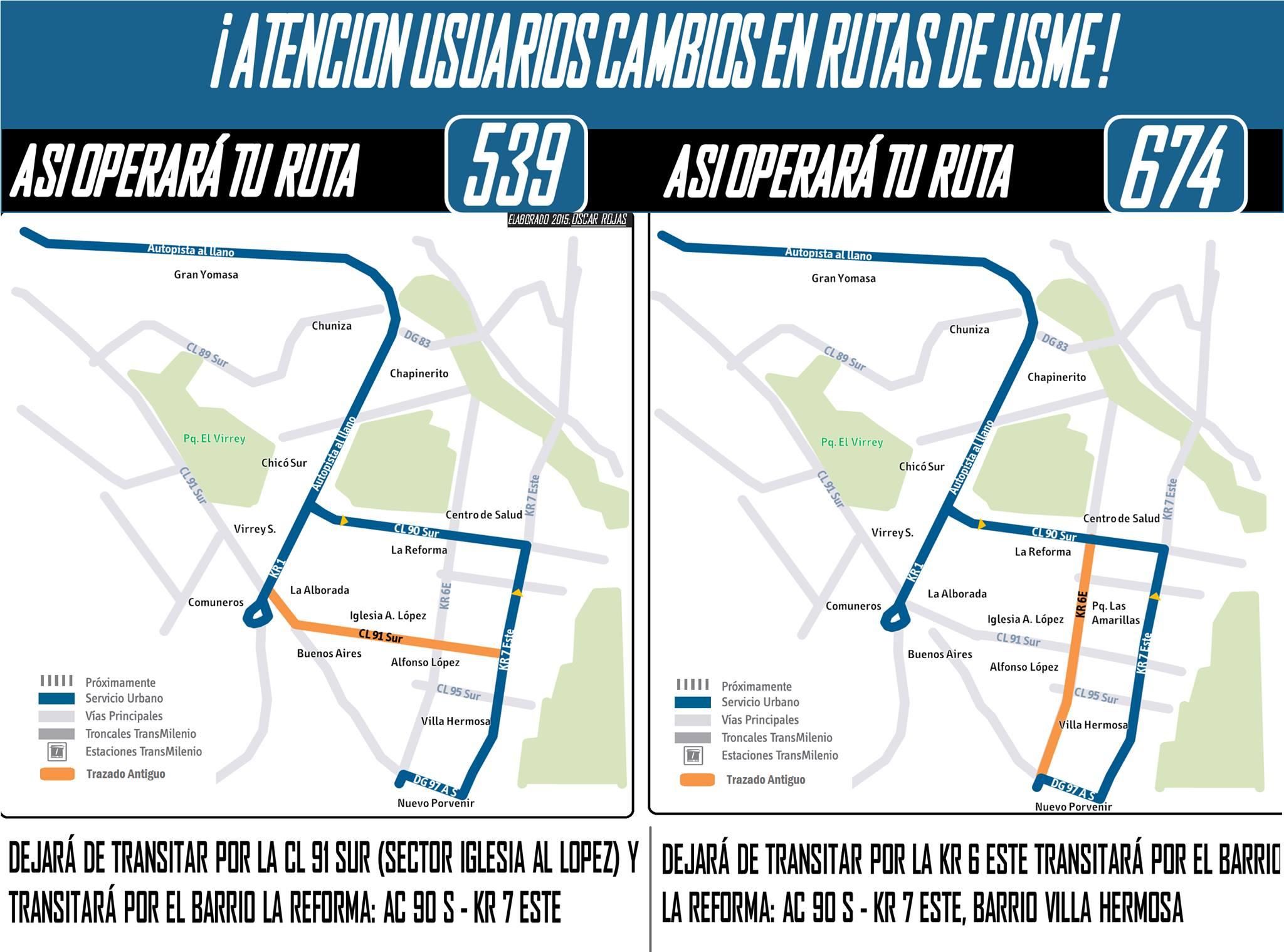 Cambios ligeros en rutas urbanas 539 y 674