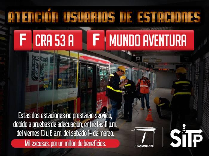 OJo usuarios TM: cerrada estación Carrera 53A y Mundo Aventura