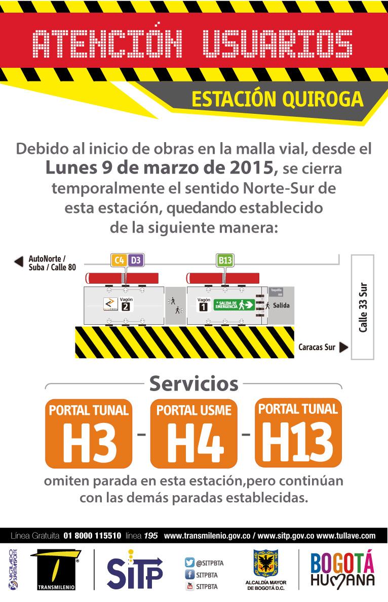Ojo usuarios TM: cierre parcial Estación Quiroga