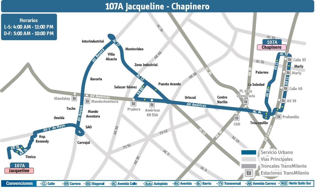Ruta 107A (urbana) cambia recorrido 4