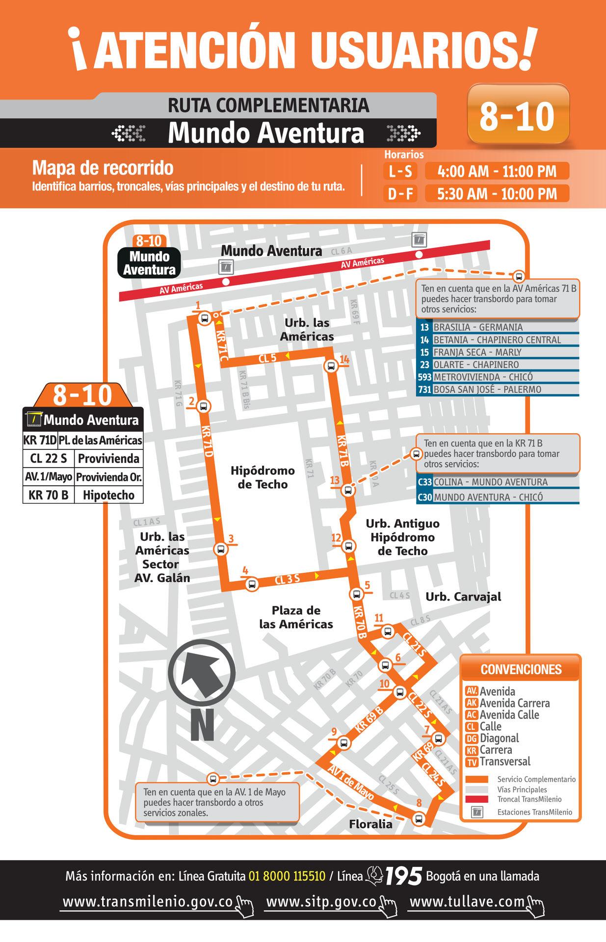 Ruta SITP: 8-10 → Mundo Aventura [Complementaria]