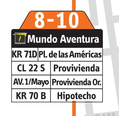 Ruta SITP: 8-10 → Mundo Aventura [Complementaria] 2
