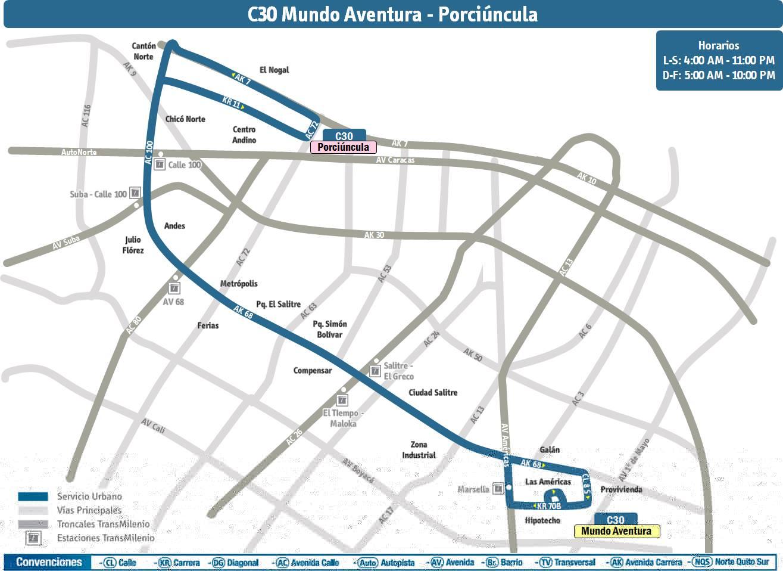 Ruta C30 (urbana) se extiende hasta Porciúncula