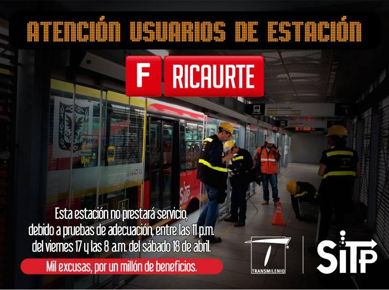 Ojo usuarios TM - Estación Museo del Oro cerrada 15 y 16