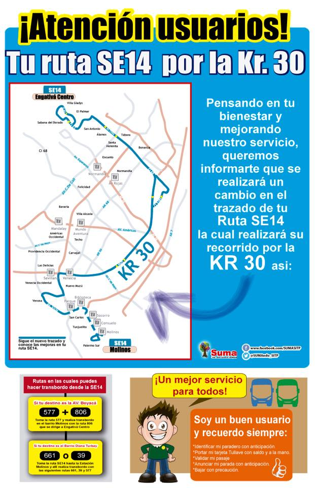 Ruta SE14 (urbana) cambiará de recorrido