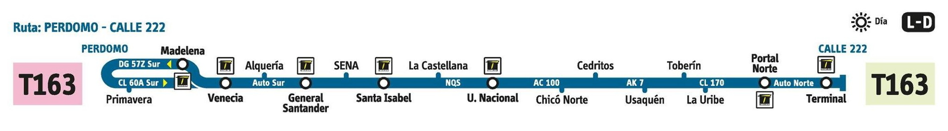 Ruta SITP: T163 Perdomo ↔ Calle 222 [Urbana] 3