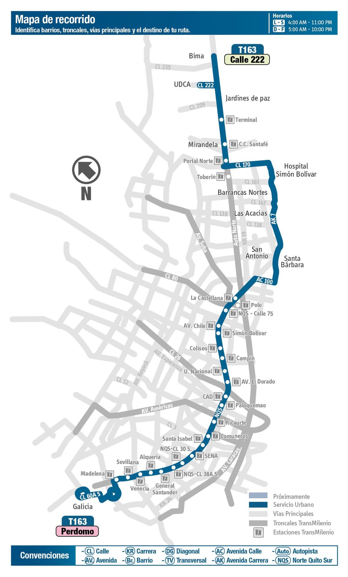 Ruta SITP: T163 Perdomo ↔ Calle 222 [Urbana] 4