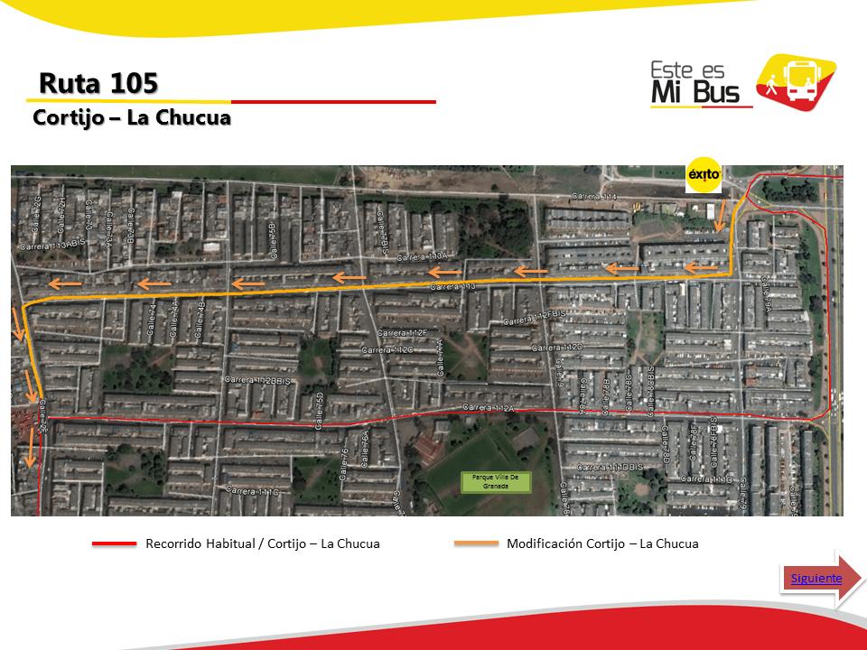 Cambios en la ruta 105 urbana