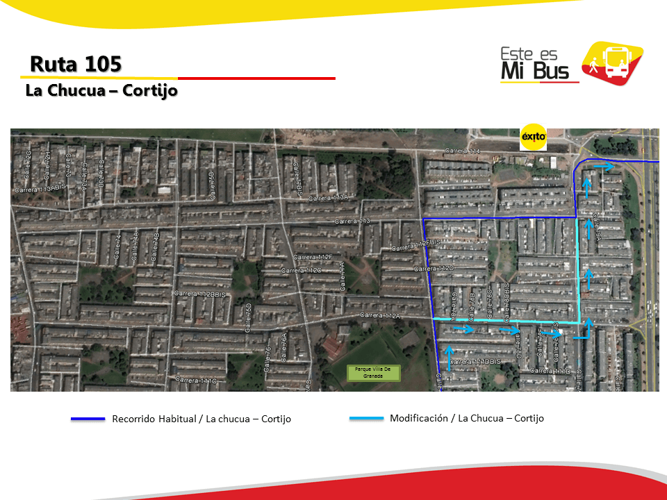 Cambios en la ruta 105 urbana 1
