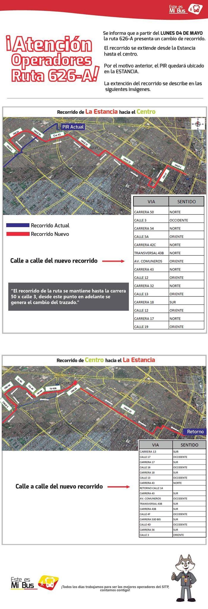 Extendida ruta 626A hasta el barrio Galán