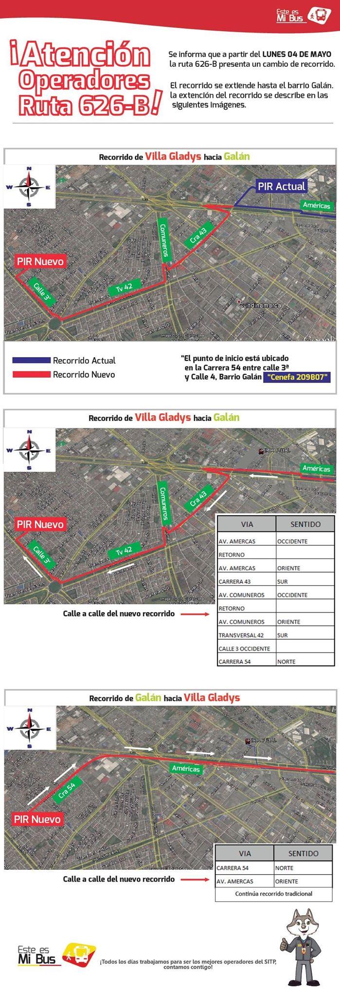 Extendida ruta 626B hasta el barrio Galán