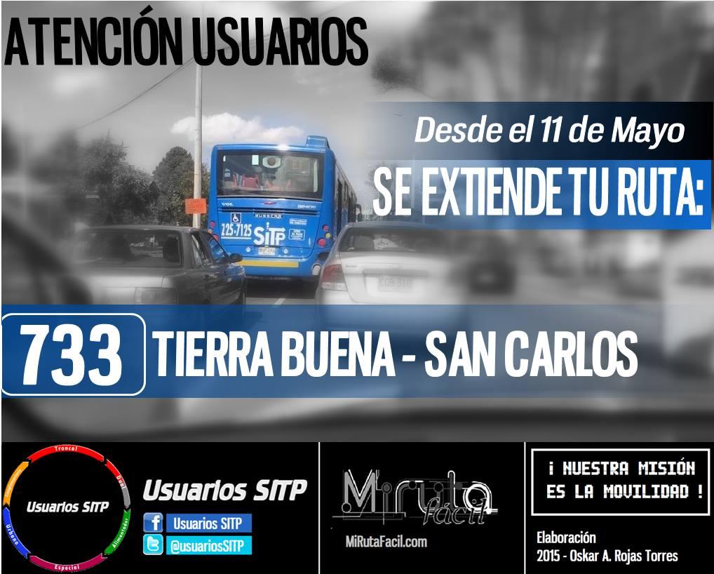Ruta urbana 733 se extendió el 11 de mayo (2015)