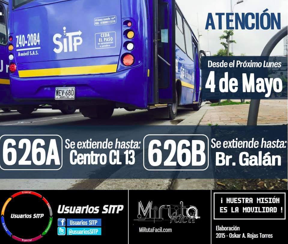 Extendida ruta 626B hasta el barrio Galán 1
