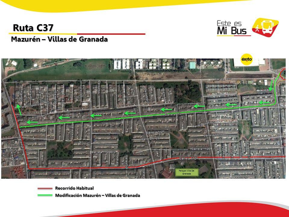 Urbana C37 tiene cambios mañana